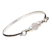 Beach Bride - Pure White Sea Glass Bangle Bracelet In Sterling With Pearls