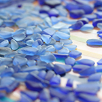 Carolina blue and dark blue (cobalt) sea glass pieces for earrings