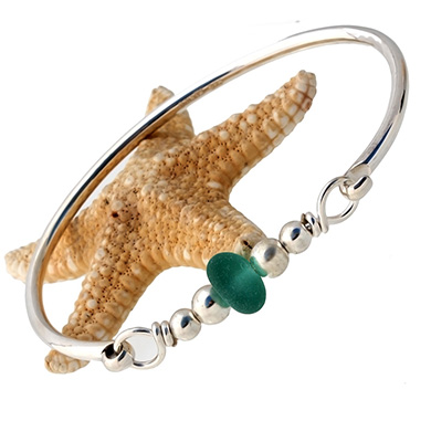 sea glass bangle bracelet with english sea glass