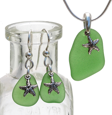 sea-glass-earring-and-necklace-set with green sea glass
